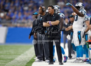 Oct 8, 2017; Detroit, MI, USA; Carolina Panthers head coach Ron Rivera looks on from the sidelines during the fourth quarter against the Detroit Lions at Ford Field. Mandatory Credit: Raj Mehta-USA TODAY Sports
