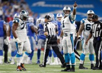 Oct 8, 2017; Detroit, MI, USA; Carolina Panthers quarterback Cam Newton (1) points up into the crowd during the fourth quarter against the Detroit Lions at Ford Field. Mandatory Credit: Raj Mehta-USA TODAY Sports