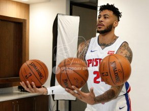 Sep 25, 2017; Detroit, MI, USA; Detroit Pistons center Eric Moreland (24) tries to juggle three balls during media day at The Palace of Auburn Hills. Mandatory Credit: Raj Mehta-USA TODAY Sports