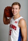 Sep 25, 2017; Detroit, MI, USA; Detroit Pistons guard Luke Kennard (5)poses for a photo during media day at The Palace of Auburn Hills. Mandatory Credit: Raj Mehta-USA TODAY Sports