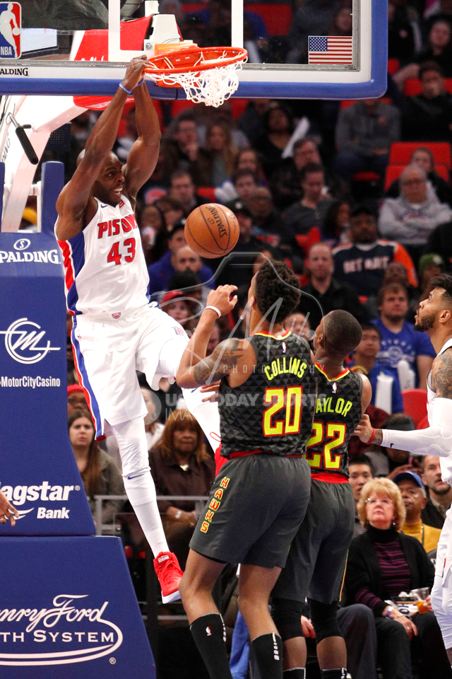 Nov 10, 2017; Detroit, MI, USA; Detroit Pistons forward Anthony Tolliver (43) makes a dunk during the fourth quarter against the Atlanta Hawks at Little Caesars Arena. Mandatory Credit: Raj Mehta-USA TODAY Sports