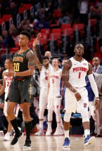 Nov 10, 2017; Detroit, MI, USA; Detroit Pistons guard Reggie Jackson (1) reacts after making a three point basket during the fourth quarter against Atlanta Hawks forward John Collins (20) at Little Caesars Arena. Mandatory Credit: Raj Mehta-USA TODAY Sports