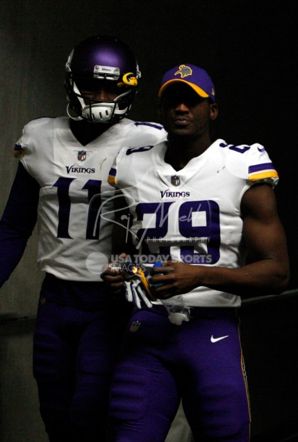 Nov 23, 2017; Detroit, MI, USA; Minnesota Vikings cornerback Xavier Rhodes (29) and wide receiver Laquon Treadwell (11) walk down the tunnel leading to the field before the game against the Detroit Lions at Ford Field. Mandatory Credit: Raj Mehta-USA TODAY Sports