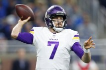 Nov 23, 2017; Detroit, MI, USA; Minnesota Vikings quarterback Case Keenum (7) throws the ball during the first quarter against the Detroit Lions at Ford Field. Mandatory Credit: Raj Mehta-USA TODAY Sports