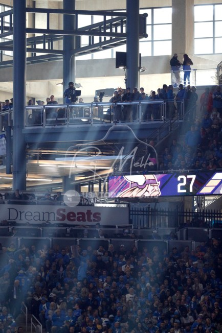 Nov 23, 2017; Detroit, MI, USA; Rays of light come through the windows onto the field during the third quarter in the game between the Detroit Lions and the Minnesota Vikings at Ford Field. Mandatory Credit: Raj Mehta-USA TODAY Sports