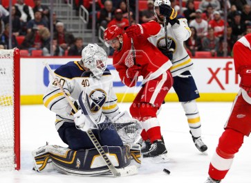Feb 22, 2018; Detroit, MI, USA; Buffalo Sabres goaltender Robin Lehner (40) makes a save during the second period against the Detroit Red Wings at Little Caesars Arena. Mandatory Credit: Raj Mehta-USA TODAY Sports