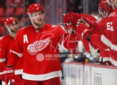 Feb 22, 2018; Detroit, MI, USA; Detroit Red Wings left wing Justin Abdelkader (8) celebrates with teammates after scoring a goal during the third period against the Buffalo Sabres at Little Caesars Arena. Mandatory Credit: Raj Mehta-USA TODAY Sports