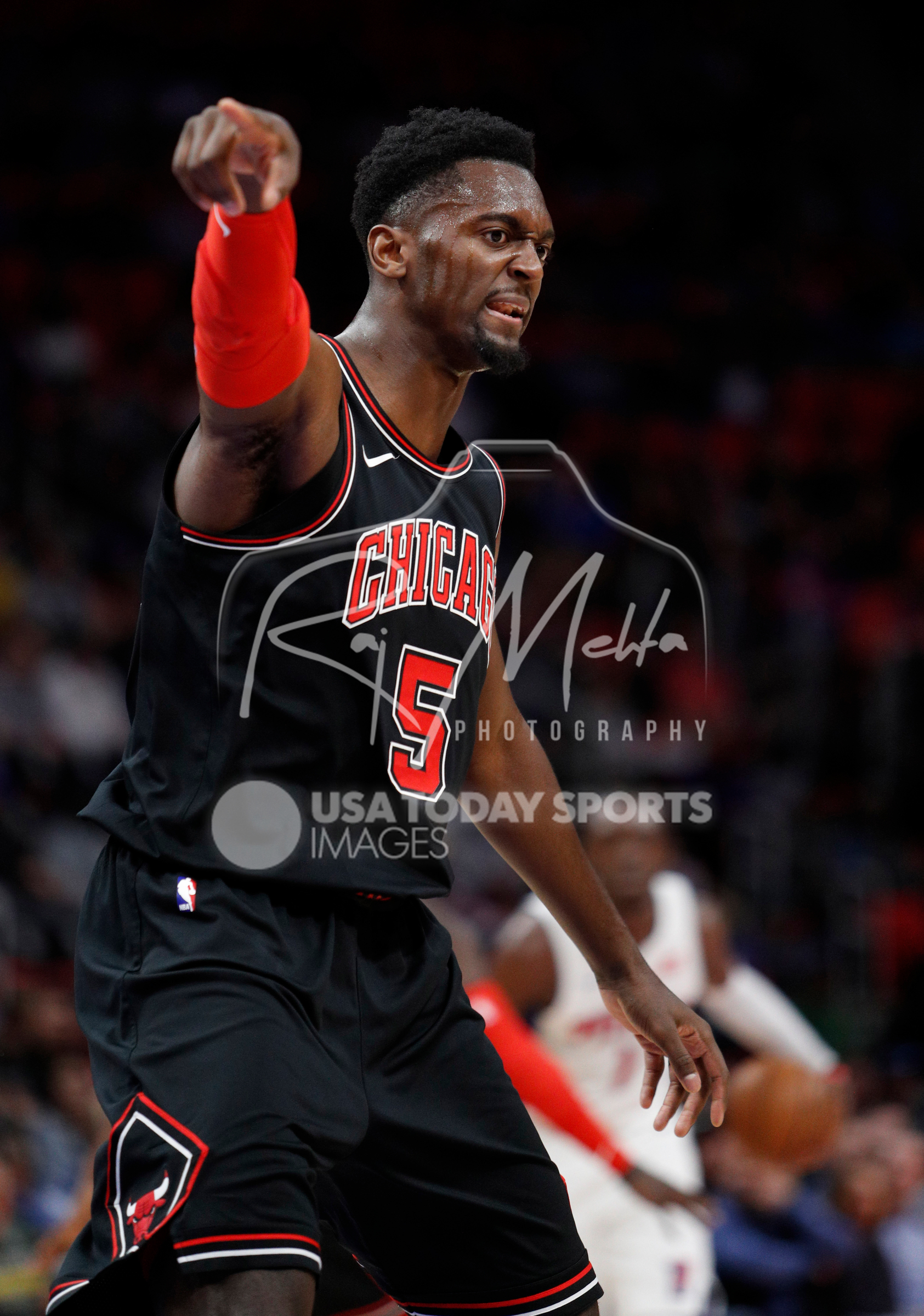 Mar 24, 2018; Detroit, MI, USA; Chicago Bulls forward Bobby Portis (5) points down court during the second quarter against the Detroit Pistons at Little Caesars Arena. Mandatory Credit: Raj Mehta-USA TODAY Sports