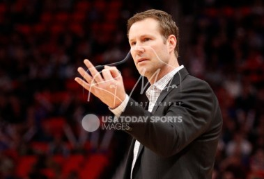 Mar 24, 2018; Detroit, MI, USA; Chicago Bulls head coach Fred Hoiberg signals to a referee after a play during the second quarter against the Detroit Pistons at Little Caesars Arena. Mandatory Credit: Raj Mehta-USA TODAY Sports
