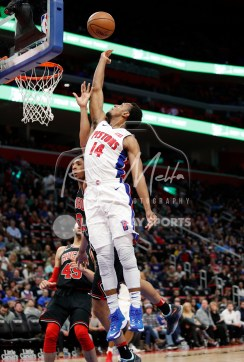 Mar 24, 2018; Detroit, MI, USA; Detroit Pistons guard Ish Smith (14) takes a shot against Chicago Bulls guard Cameron Payne (22) during the second quarter at Little Caesars Arena. Mandatory Credit: Raj Mehta-USA TODAY Sports