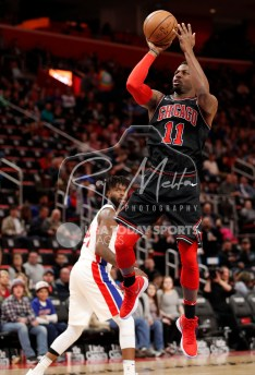 Mar 24, 2018; Detroit, MI, USA; Chicago Bulls forward David Nwaba (11) takes a shot during the third quarter against the Detroit Pistons at Little Caesars Arena. Mandatory Credit: Raj Mehta-USA TODAY Sports