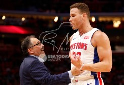 Feb 28, 2018; Detroit, MI, USA; Detroit Pistons head coach Stan Van Gundy talks with forward Blake Griffin (23) during the third quarter against the Milwaukee Bucks at Little Caesars Arena. Mandatory Credit: Raj Mehta-USA TODAY Sports