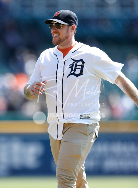 Apr 22, 2018; Detroit, MI, USA; Detroit Red Wings goaltender Jimmy Howard smiles before the game between the Detroit Tigers and the Kansas City Royals at Comerica Park. Mandatory Credit: Raj Mehta-USA TODAY Sports