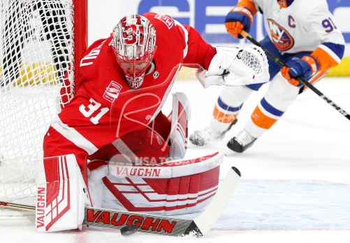 Apr 7, 2018; Detroit, MI, USA; Detroit Red Wings goaltender Jared Coreau (31) makes a save during the first period against the New York Islanders at Little Caesars Arena. Mandatory Credit: Raj Mehta-USA TODAY Sports