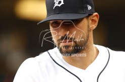 Apr 13, 2018; Detroit, MI, USA; Detroit Tigers right fielder Nicholas Castellanos (9) looks down from the dugout before the game against the New York Yankees at Comerica Park. Mandatory Credit: Raj Mehta-USA TODAY Sports