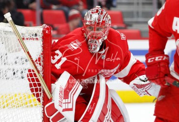 Apr 5, 2018; Detroit, MI, USA; Detroit Red Wings goaltender Jared Coreau (31) protects the net during the first period against the Montreal Canadiens at Little Caesars Arena. Mandatory Credit: Raj Mehta-USA TODAY Sports
