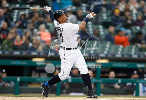 Apr 13, 2018; Detroit, MI, USA; Detroit Tigers first baseman Miguel Cabrera (24) pops out during the first inning against the New York Yankees at Comerica Park. Mandatory Credit: Raj Mehta-USA TODAY Sports