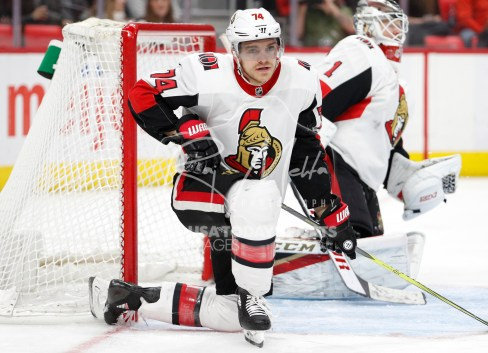 Mar 31, 2018; Detroit, MI, USA; Ottawa Senators defenseman Mark Borowiecki (74) kneels in front of the goal after a play during the second period against the Detroit Red Wings at Little Caesars Arena. Mandatory Credit: Raj Mehta-USA TODAY Sports