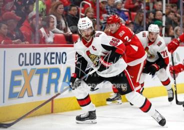 Mar 31, 2018; Detroit, MI, USA; Ottawa Senators defenseman Erik Karlsson (65) skates with the puck during the second period against the Detroit Red Wings at Little Caesars Arena. Mandatory Credit: Raj Mehta-USA TODAY Sports