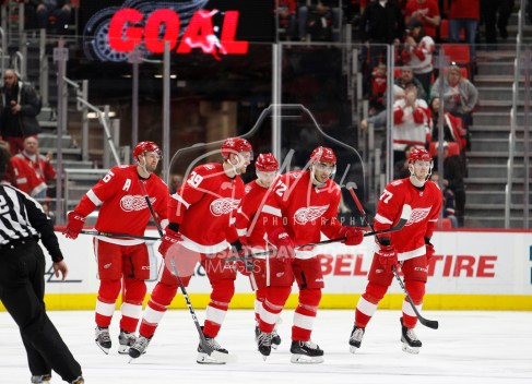 Mar 31, 2018; Detroit, MI, USA; Detroit Red Wings left wing Andreas Athanasiou (72) skates back to the bench with his teammates after scoring a goal during the third period against the Ottawa Senators at Little Caesars Arena. Mandatory Credit: Raj Mehta-USA TODAY Sports