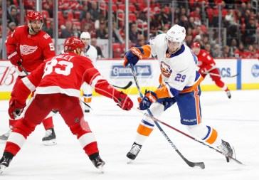Apr 7, 2018; Detroit, MI, USA; New York Islanders center Brock Nelson (29) takes a shot against Detroit Red Wings defenseman Trevor Daley (83) during the third period at Little Caesars Arena. Mandatory Credit: Raj Mehta-USA TODAY Sports