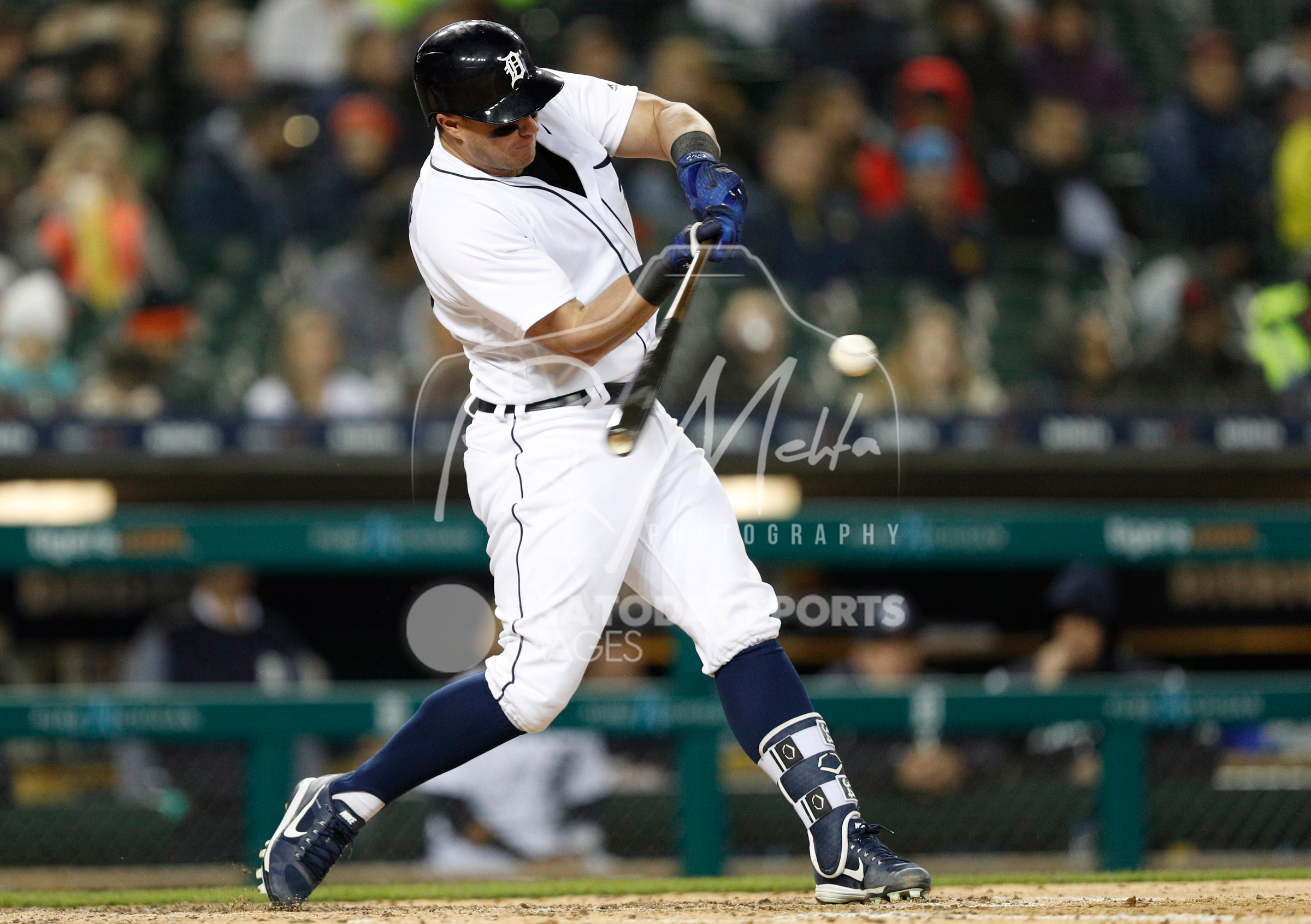 Apr 13, 2018; Detroit, MI, USA; Detroit Tigers catcher James McCann (34) hits a solo home run during the fifth inning against the New York Yankees at Comerica Park. Mandatory Credit: Raj Mehta-USA TODAY Sports