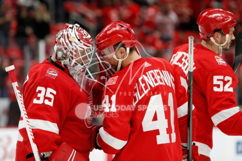 Mar 31, 2018; Detroit, MI, USA; Detroit Red Wings goaltender Jimmy Howard (35) celebrates with right wing Luke Glendening (41) after the game against the Ottawa Senators at Little Caesars Arena. Mandatory Credit: Raj Mehta-USA TODAY Sports