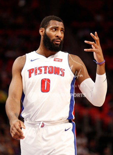 Apr 6, 2018; Detroit, MI, USA; Detroit Pistons center Andre Drummond (0) reacts after a play during the first quarter against the Dallas Mavericks at Little Caesars Arena. Mandatory Credit: Raj Mehta-USA TODAY Sports