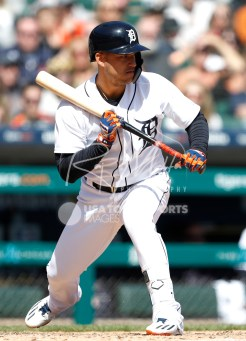 Apr 22, 2018; Detroit, MI, USA; Detroit Tigers shortstop Jose Iglesias (1) looking to bunt during the sixth inning against the Kansas City Royals at Comerica Park. Mandatory Credit: Raj Mehta-USA TODAY Sports
