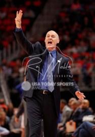 Apr 6, 2018; Detroit, MI, USA; Dallas Mavericks head coach Rick Carlisle yells out during the first quarter against the Detroit Pistons at Little Caesars Arena. Mandatory Credit: Raj Mehta-USA TODAY Sports