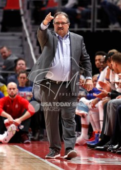 Apr 6, 2018; Detroit, MI, USA; Detroit Pistons head coach Stan Van Gundy points down the court during the second quarter against the Dallas Mavericks at Little Caesars Arena. Mandatory Credit: Raj Mehta-USA TODAY Sports
