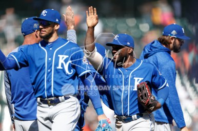 Apr 22, 2018; Detroit, MI, USA; Kansas City Royals right fielder Abraham Almonte (45) celebrates with teammates after the game against the Detroit Tigers at Comerica Park. Mandatory Credit: Raj Mehta-USA TODAY Sports