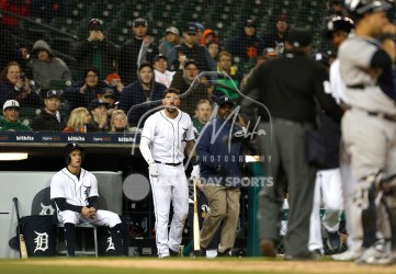 Apr 13, 2018; Detroit, MI, USA; Detroit Tigers right fielder Nicholas Castellanos (9) yells out at umpire Fieldin Culbreth (25) after a call during the ninth inning against the New York Yankees at Comerica Park. Mandatory Credit: Raj Mehta-USA TODAY Sports