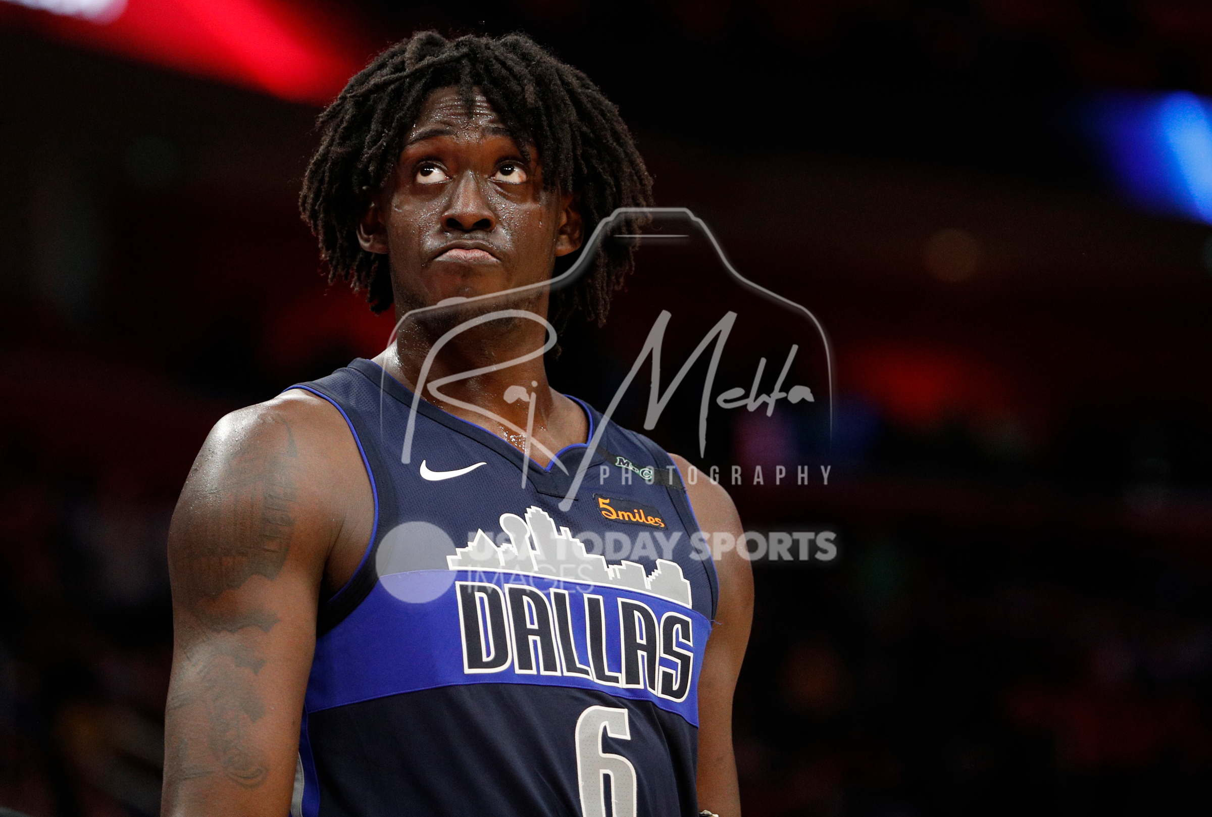 Apr 6, 2018; Detroit, MI, USA; Dallas Mavericks forward Johnathan Motley (6) looks up during overtime against the Detroit Pistons at Little Caesars Arena. Mandatory Credit: Raj Mehta-USA TODAY Sports