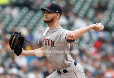 Jul 22, 2018; Detroit, MI, USA; Boston Red Sox starting pitcher Chris Sale (41) pitches the ball during the fifth inning against the Detroit Tigers at Comerica Park. Mandatory Credit: Raj Mehta-USA TODAY Sports