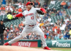 Aug 1, 2018; Detroit, MI, USA; Cincinnati Reds starting pitcher Sal Romano (47) pitches the ball during the first inning against the Detroit Tigers at Comerica Park. Mandatory Credit: Raj Mehta-USA TODAY Sports