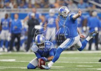 Aug 17, 2018; Detroit, MI, USA; Detroit Lions kicker Matt Prater (5) kicks a field goal held by punter Sam Martin (6) during the first quarter against the New York Giants at Ford Field. Mandatory Credit: Raj Mehta-USA TODAY Sports