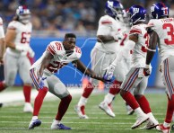 Aug 17, 2018; Detroit, MI, USA; New York Giants defensive back William Gay (25) celebrates with New York Giants defensive back Grant Haley (34) and defensive back Michael Thomas (31) during the second quarter against the Detroit Lions at Ford Field. Mandatory Credit: Raj Mehta-USA TODAY Sports
