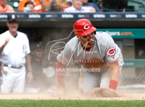 Aug 1, 2018; Detroit, MI, USA; Cincinnati Reds catcher Curt Casali (38) looks up after getting tagged out at home plate by Detroit Tigers catcher John Hicks (not pictured) during the seventh inning at Comerica Park. Mandatory Credit: Raj Mehta-USA TODAY Sports