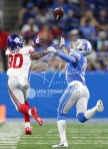 Aug 17, 2018; Detroit, MI, USA; New York Giants wide receiver Jawill Davis (80) attempts to make a catch against Detroit Lions cornerback Antwuan Davis (36) during the fourth quarter at Ford Field. Mandatory Credit: Raj Mehta-USA TODAY Sports