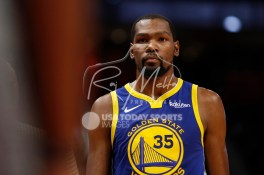 Dec 1, 2018; Detroit, MI, USA; Golden State Warriors forward Kevin Durant (35) looks on during the third quarter against the Detroit Pistons at Little Caesars Arena. Mandatory Credit: Raj Mehta-USA TODAY Sports