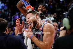 Dec 1, 2018; Detroit, MI, USA; Detroit Pistons forward Blake Griffin (23) gets a water bath from center Andre Drummond (0) after the game against the Golden State Warriors at Little Caesars Arena. Mandatory Credit: Raj Mehta-USA TODAY Sports