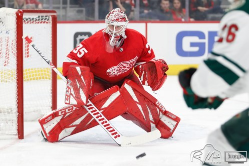 Feb 27, 2020; Detroit, Michigan, USA; Detroit Red Wings goaltender Jimmy Howard (35) protects the net during the first period against the Minnesota Wild at Little Caesars Arena. Mandatory Credit: Raj Mehta-USA TODAY Sports