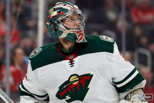 Feb 27, 2020; Detroit, Michigan, USA; Minnesota Wild goaltender Alex Stalock (32) looks on during the second period against the Detroit Red Wings at Little Caesars Arena. Mandatory Credit: Raj Mehta-USA TODAY Sports