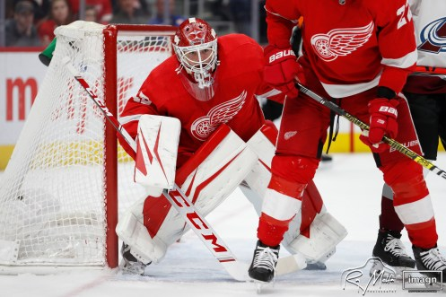 Mar 2, 2020; Detroit, Michigan, USA; Detroit Red Wings goaltender Jonathan Bernier (45) keeps his eye on the puck during the third period against the Colorado Avalanche at Little Caesars Arena. Mandatory Credit: Raj Mehta-USA TODAY Sports