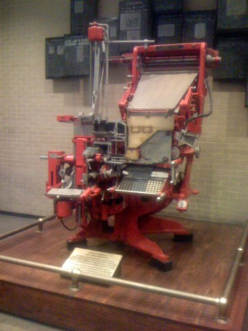 Linotype machine at Washington Post office