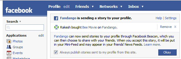Facebook's new ad thingie on my Facebook page