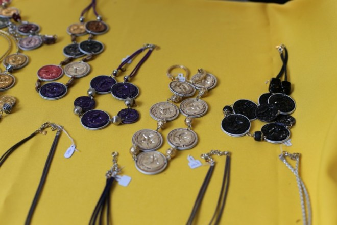 Local art-- necklaces made from recycled Nespresso capsules (I used to consume a lot of these)