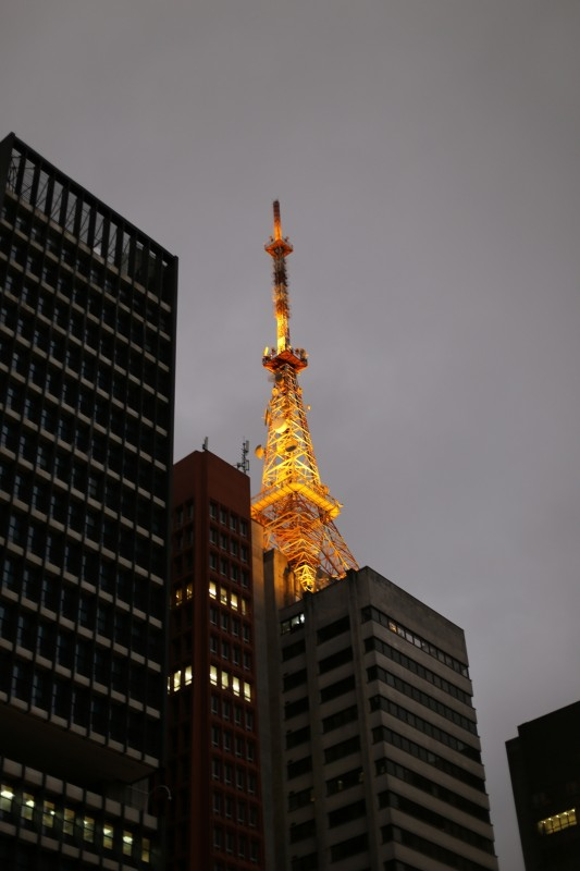 Radio tower in the shape of the Eiffel Tower on Paulista.
