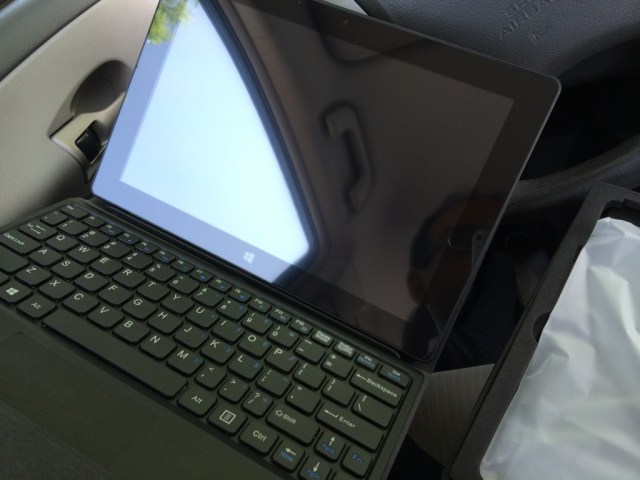 Tablet docked into the keyboard
